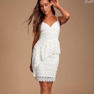 McKenzie White Lace Ruffled Dress
